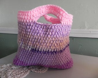Sassy Hand crocheted tote/purse/shopping bag/ in pinks and purples
