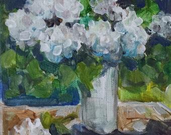 Hydrangea painting - original artwork - acrylic - flowers in vase - canvas art - still life floral - fine art canvas - wall art home decor