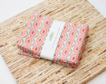 Large ORGANIC Cloth Napkins - Set of 4 (N3929) - Coral Flower Modern Reusable Fabric Napkins