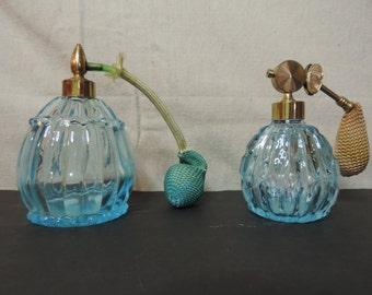 Blue Art Glass Perfume Bottles Frangrance bottle Atomizer Blue Glass Bottle Vintage Perfume Bottles