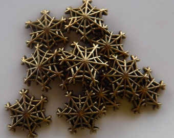 11 Gold Small Snowflake Web Flat Back Buttons Size 9/16""