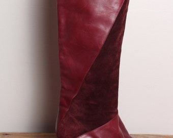 Vintage Burgundy Suede Leather Boots