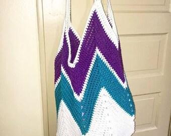 Beach bag - crocheted bag - tote bag - crocheted tote - vegan bag - farmers market bag - grocery tote - free shipping - market bag