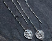 Silver Ear Thread Earring - Rose Leaf Charm Ear Threader Earrings - Minimal Jewelry - Long Silver Dangle Earring - Minimalist Jewelry