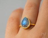 WINTER SALE - Labradorite Ring - Gemstone Ring - Stacking Ring - Gold Ring - Tear Drop Ring - Stack Rings