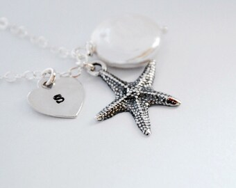Personalized Necklace, Sterling Silver Starfish, White Coin Pearl, Sterling Silver Chain, Monogrammed Gift, Gift Under 35