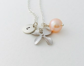 Personalized Orchid Necklace, Peach Freshwater Pearl, Sterling Silver, Monogrammed Gift, June Birthstone, Gift Under 35