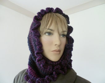 Ladies Neck warmer/cowl with frill hand crochet plum/dark berry FREE UK SHIPPING