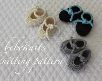 Bebeknits Knot Tied Baby Booties Knitting Pattern