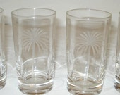 Set of 4 Vintage Etched Glass Drinking Glasses with Palm Tree motif