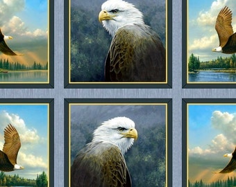 Majestic Eagles Wildlife 24x44 premium cotton fabric panel designed by the Hautman Brothers for Quilting Treasures