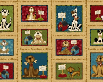 Pet Rescue Dogs 24x44 inch panel premium cotton fabric from Leanne Anderson for Henry Glass and Co