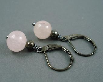 Rose Quartz Earrings on Gun Metal Leverback Wires Handmade Earrings