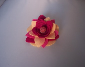 ONE Felt Flower Brooch - Various Pink / Peach / Purple - FREE SHIPPING!