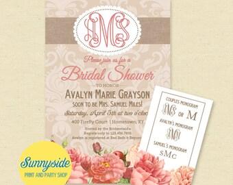 Monogram Bridal Shower Invitation, Burlap Floral Bridal Shower Invite, Printable, Monograms Mimosas Margaritas