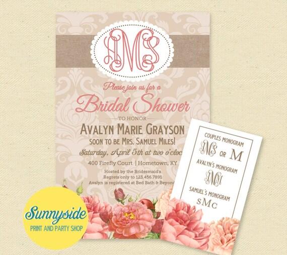 Monogram bridal shower invitation burlap floral bridal shower il570xn filmwisefo