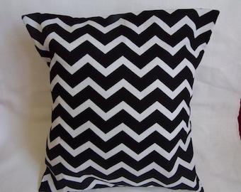 "Black and White Chevron 16 x16"" Pillow Cover"