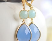 Periwinkle Blue and Mint Jade Dangle Earrings in Gold. Bridesmaids Earrings. Fashion Earrings. Jewelry. Free Shipping. Wedding. Gift.
