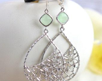 Mint Statement Earrings in Silver.  Large Dangle Earrings. Gift.  Jewelry Gift.  Gift for Her. Dangle Earrings.  Jewelry.