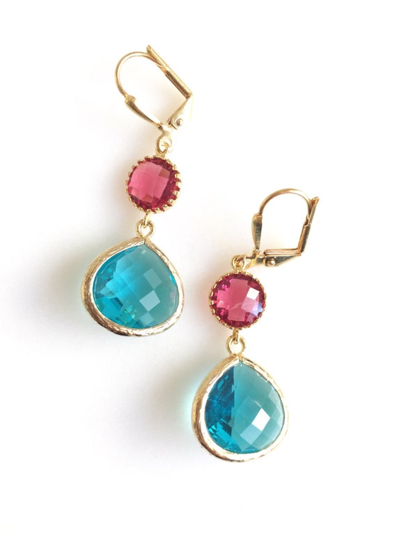 Ruby and Aquamarine Dangle Earrings in Gold. Drop Earrings. Bridesmaids Earrings. Gift. Wedding Jewelry. Ruby Dangle Earrings.