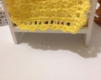 Yellow sparkle crocheted blanket for dollhouse