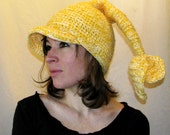 Weird crochet hat - Corn Root - yellow kernel blend, unisex cap with 2 tails and brim