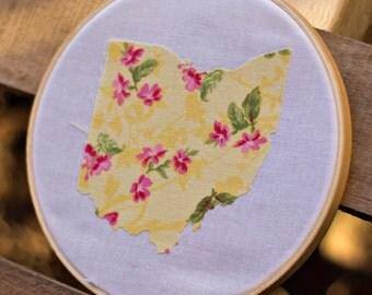 Embroidery Hoop Art of Ohio- Fabric Wall Art