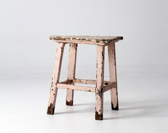 antique primitive stool, pink wood riser