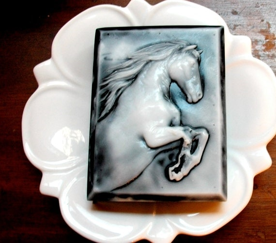 HORSE SOAP, The Original Kacie's Black and White Stallion Horse Soap or Choose a Custom Color, Handmade, Vegetable Based, Custom Scented