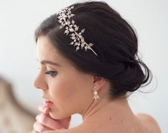 handmade lace leaf and freshwater pearl sterling silver headband tiara