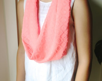 Textured Coral Infinity Scarf