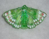 Fenton Butterfly Willow Green Iridized Handpainted Artist Signed