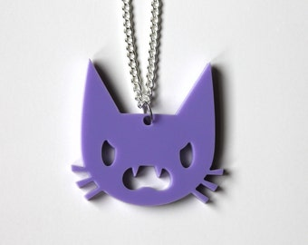 Angry Cat lilac pendant on silver chain necklace