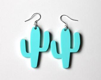 Mint cactus earrings