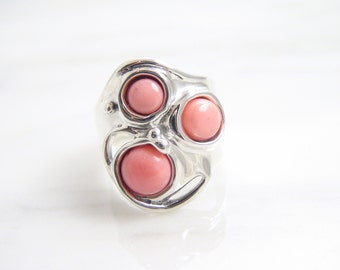 Vintage Sterling Silver Bezel Set Hagit Gorali Angelskin Coral Ring/ Wide Bold Fashion Ring