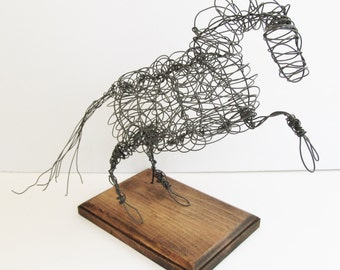Wire Art Horse Sculpture on Wood Base