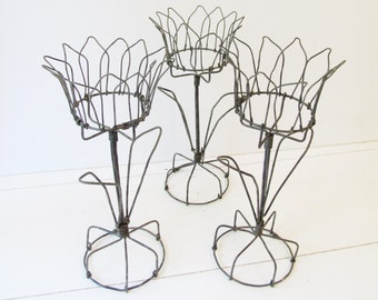 Wire Art Flower Candle Holders - set of 3