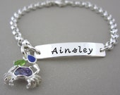 Silver ID Charm Bracelet - Hand Stamped Jewelry - Personalized Kids Bracelet - Baby Bracelet - Flower Girl Gift - Birthday - Wedding - Gift