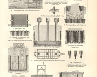 1904 Foundations, Footings, Substructures of Buildings Antique Engraving Print