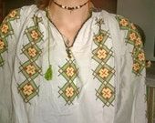 Vintage Romanian embroidered  blouse costume folk. Gorgeous!
