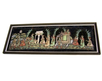 Vintage Oil Painting Persian Art Rajasthani Wedding Tropical India Marriage Ceremony Ethnic Folk Art Large Framed Black velvet 5 ft long