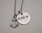Hand Stamped Silver Anchor Necklce - Nautical Necklace - Anchor Jewelry - Special Date Jewelry - Mens Necklace - Womens Necklace - Gift Idea