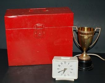 Vintage Portable Metal File Box Red Industrial