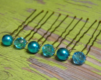 6 Turquoise Blue 8mm Czech Crystals and Pearl Hair Pins