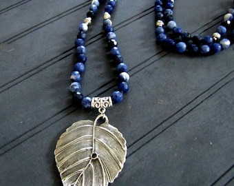 Sterling Silver and Sodalite Necklace Gemstone Hand knotted Necklace Gemstone Mala Necklace Boho Leaf Necklace Boho Jewelry Long Necklace