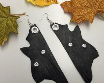 SJ Black Leather Studed Earrings