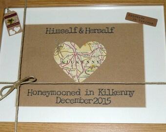 Honeymoon Keepsake - Love Map Heart - Irish Wedding - Personalised Framed Wall Art  - Handmade in Ireland