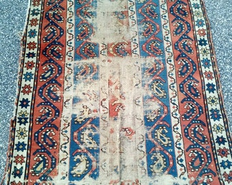 """80 to 100 Years Old Antique Caucasian Kazak Handmade Oriental Rug Very Worn and Weathered Condition 3'5"""" by 5'5"""""""