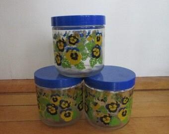 Lot of 3 Vintage Screw Top Glass Jar Mason Storage Jars 1970s Blue Pansy Pattern Pint Size