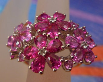 Size 7 Ring : Sterling 925 Silver - Pink and Red Flowers - Signed P (star) M (9904)